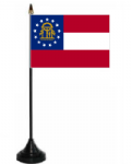Georgia US Desk / Table Flag with plastic stand and base.